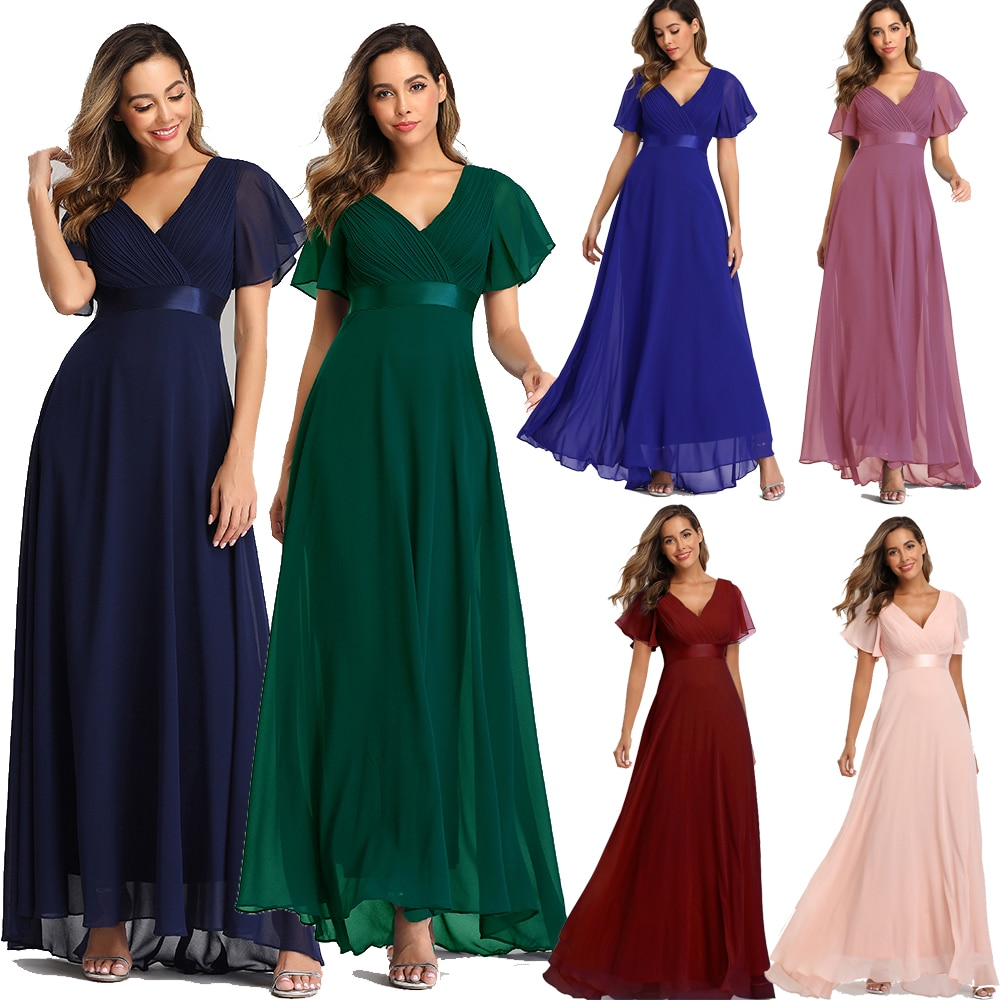 Evening Dresses XUCTHHC Elegant V-Neck Ruffles Chiffon Formal Evening Gown  Robe Vestidos De fiesta Dress for Wedding Party