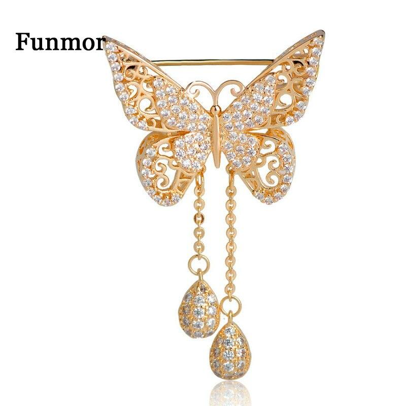Женская брошка-бабочка из кубического циркония высокого качества, золотой цвет, КАПЛЕВИДНАЯ кисточка, классическое свадебное украшение, корсаж в виде животных