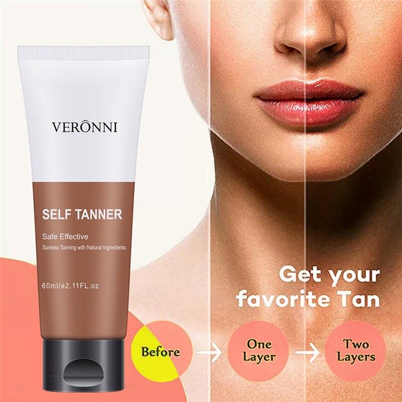 Auto bronzeado brilho marrom premium bronzeador creme maquiagem fundação seguro corpo eficaz sunless natural aumentar loção veronni