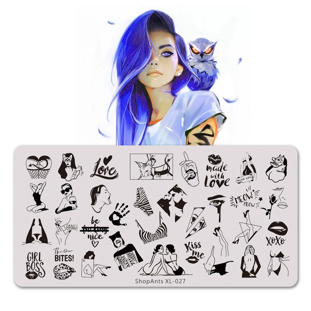 6*12cm Stainless Steel Nails Stamping Plates Fashion Love Heart Lace Sexy Girl Punk Style Image Stencil Nail Art Stamp Template 1pcs black flower lace nail stamping plates stainless steel nail art stamp template manicure tools uv gel nails art decorations