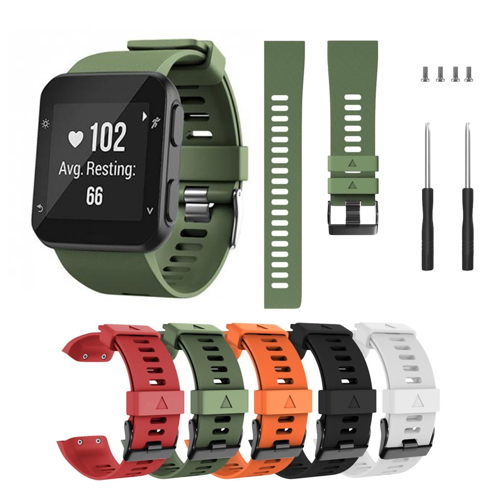 Pulseira de silicone para relógio, substituição, correia de pulseira para garmin forerunner 35, pulseira + parafusos