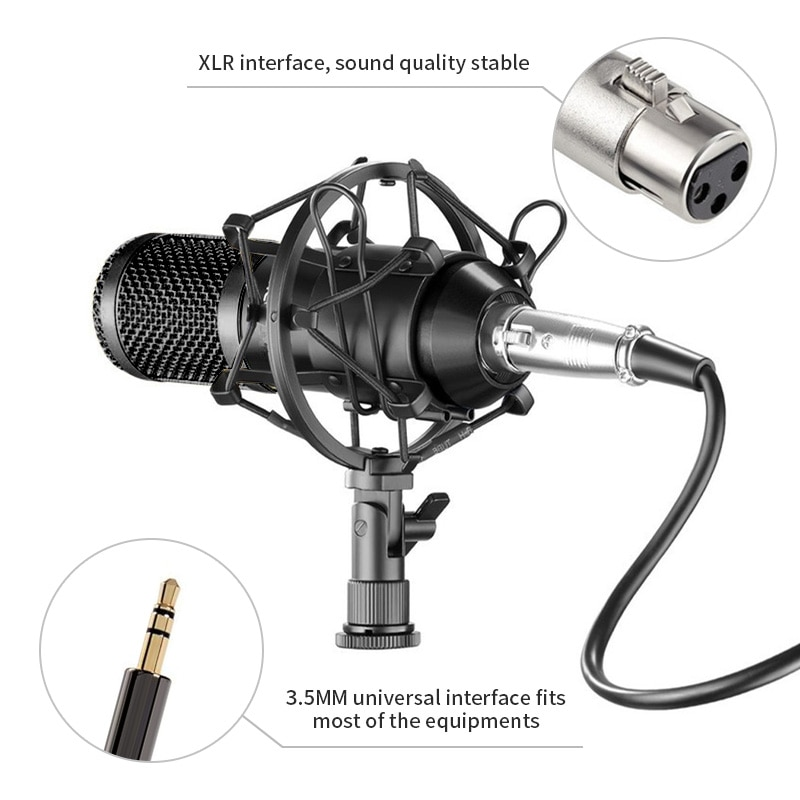 BM800 Condenser Microphone Professional Recording Microphone with Cantilever Bracket Anti-spray Net Mic for Skype Youtobe Gaming enlarge