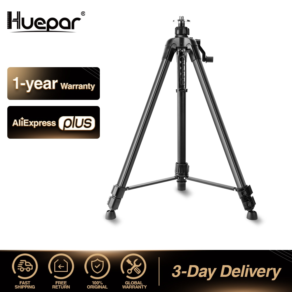 Huepar 1.6M Laser Level Tripod Aluminum Flat Head Adjustable Height Tripod Stand with Handle Bubble for Self leveling Level