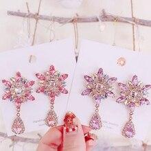 Fashion Korean Sweet Pink Crystal Snowflake Drop Earrings Women Elegant Party Dangle Pendientes Christmas Jewelry