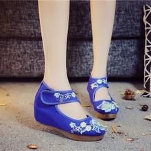 Cheville Wrap femmes toile plates plates Handmad fleur coton broder vieilles chaussures de pékin femme décontracté vieux Beijing chaussures