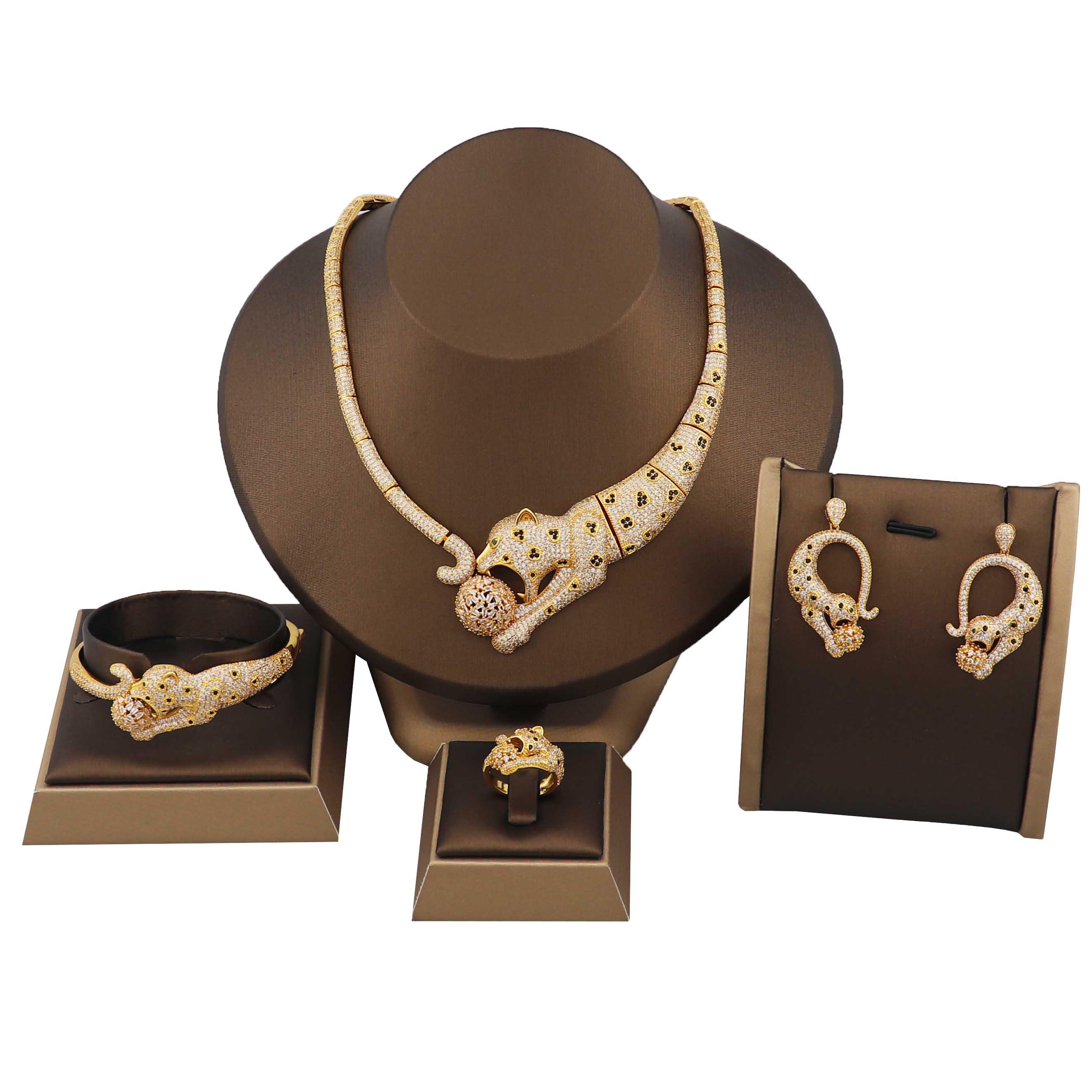 الموضة الفاخرة عالية الجودة ليوبارد قلادة سوار حلقة أقراط أربعة قطعة طقم مجوهرات هدية للذكرى السنوية
