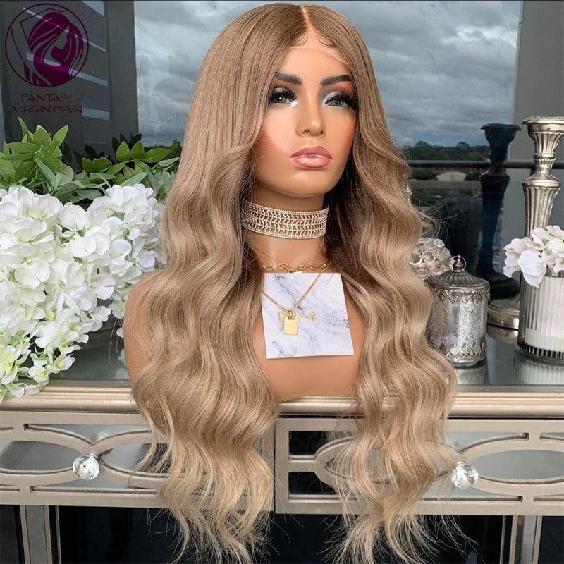 Ombre Lace Front Wig 13x4/13x6 Caramel Blonde Balayage Human Hair Wigs with Baby Hairs Loose Wave REmy Hair 150% 26