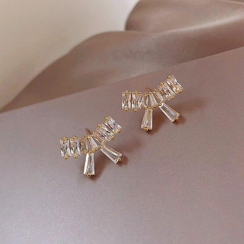 2020 nueva moda personalit fina brillante cristal Bowknot diseño gota pendientes contratado joker coreano joyería aros para mujer