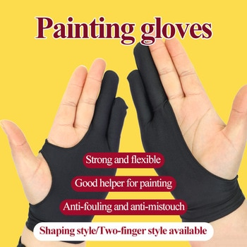 Two-fingers/Shaped Style Antifouling Gloves for Any Graphics/Table/Drawing Free Size Both for Left and Right Hand Drawing Gloves