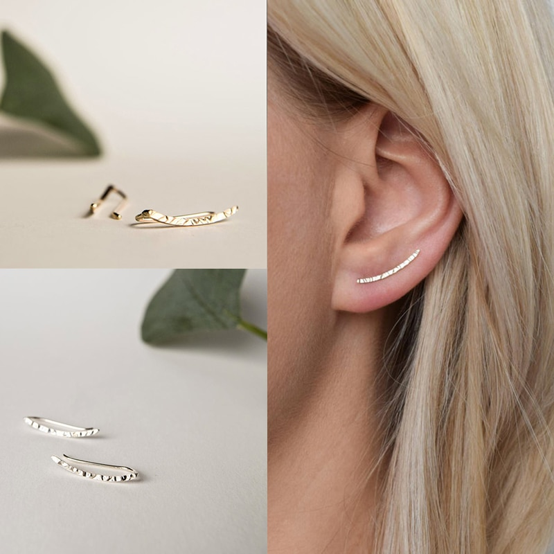 925 Sterling Silver Ear Climber - Ears Crawler Cuff  Hammered Earrings for women