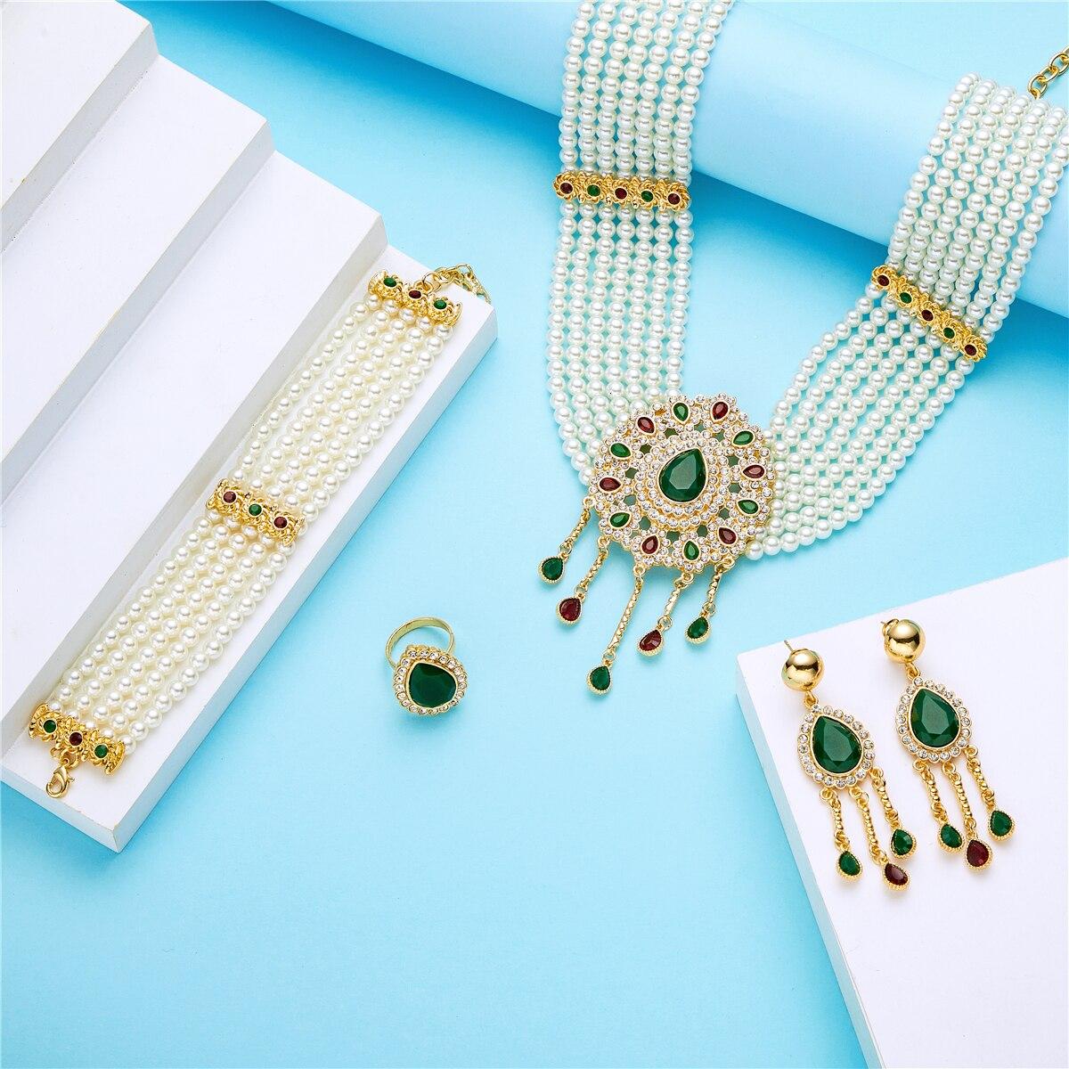 مجموعة مجوهرات الزفاف اللؤلؤ للنساء ، مجموعة مجوهرات الأزياء ، مجموعة مجوهرات اللؤلؤ