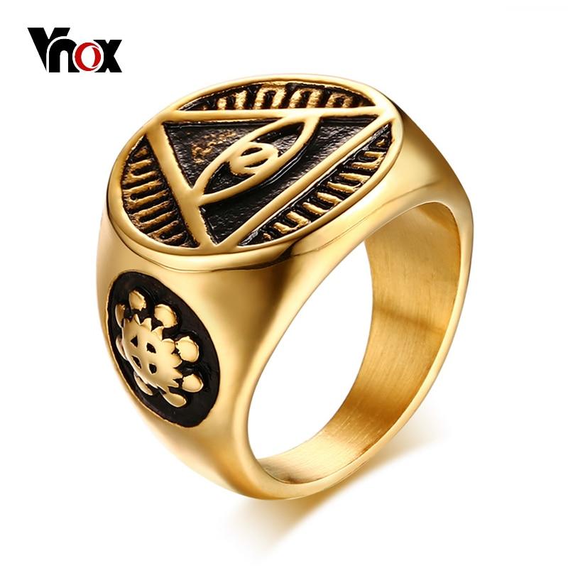 Vnox Antique Men Ring Triangle Eye of Providence Illuminati Pyramid All Seeing Eye Stainless Steel Male Alliance Punk Jewelry