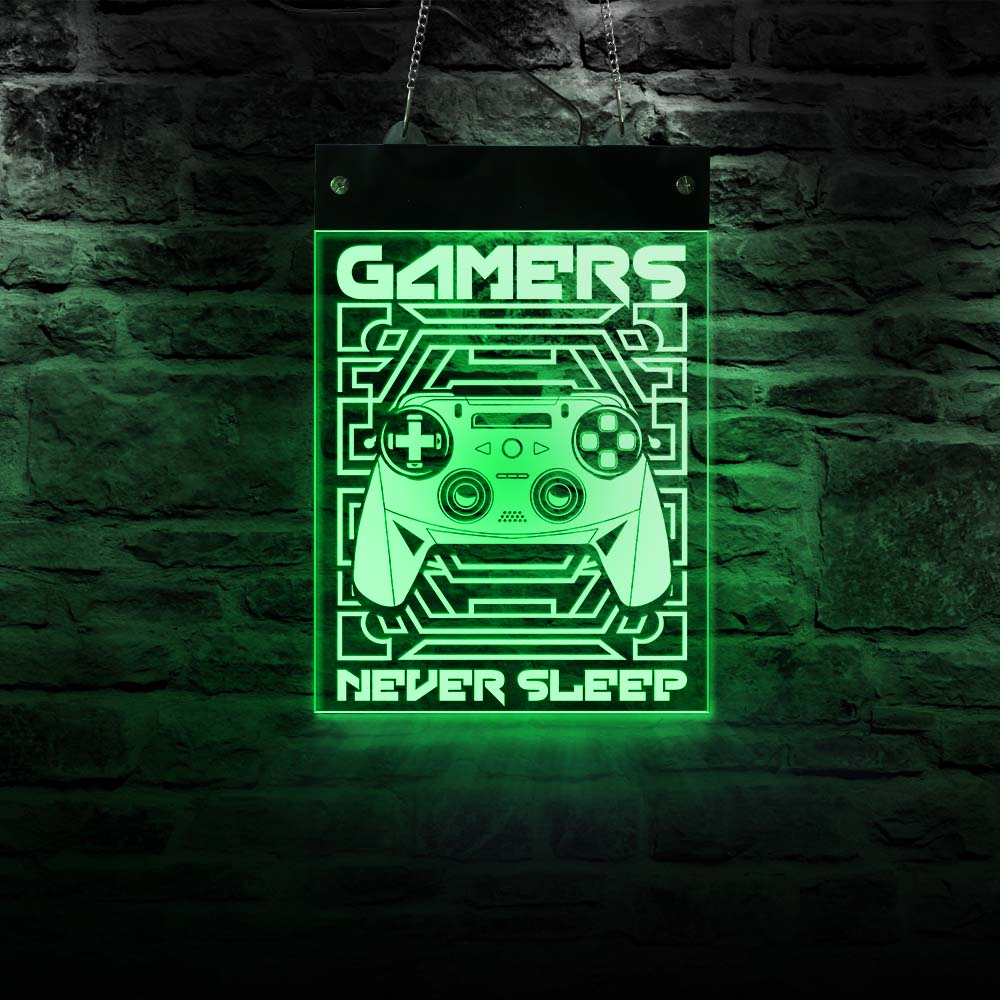 Gamers Never Sleep Man Cave Gaming Electronic Lighted Sign Playroom Joystick Video Games LED Illuminated Display Hanging Board