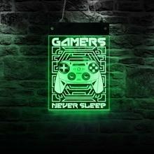 Gamers jamais dormir homme grotte Gaming électronique panneau éclairé salle de jeux Joystick jeux vidéo LED affichage lumineux panneau suspendu