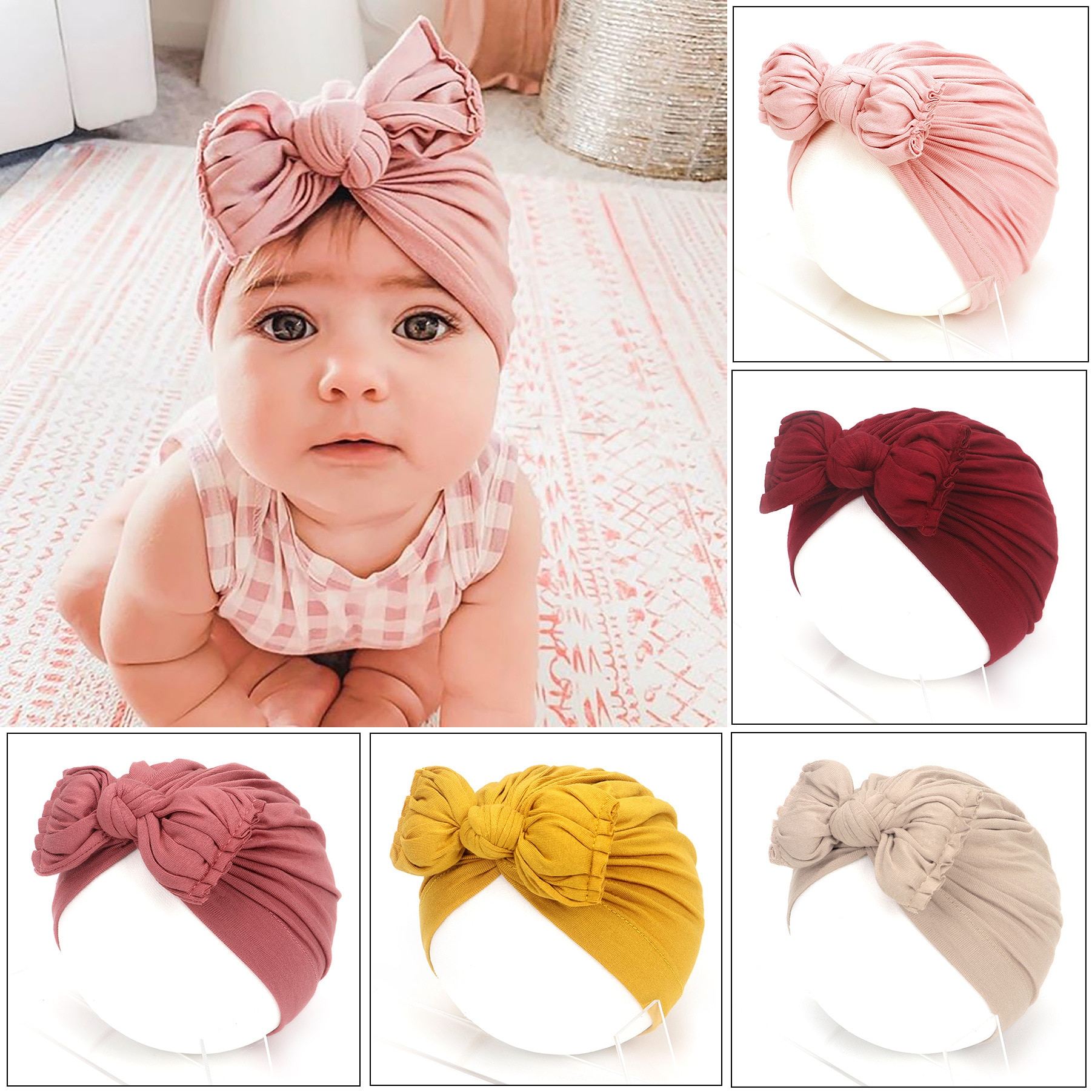Newborn Baby caps Turban Toddler Spring Bow Hat Kids Girl cotton Big Bow Cap Photography Props acces