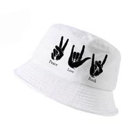 love peace rock bucket hat men women harajuku fisherman hat high quality cotton cap fashion outdoor shade panama fishing hat
