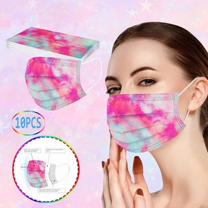 10Pcs Tie-dye Gradient Printed Adult Disposable Mask Face Cover Mouth Mask 3 Layer Ply Filter Non-woven Earloops Mask Mascarilla
