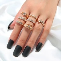 vintage rhinestone rings set new butterfly crystal stainless steel rings set for women men finger jewelry female accessories