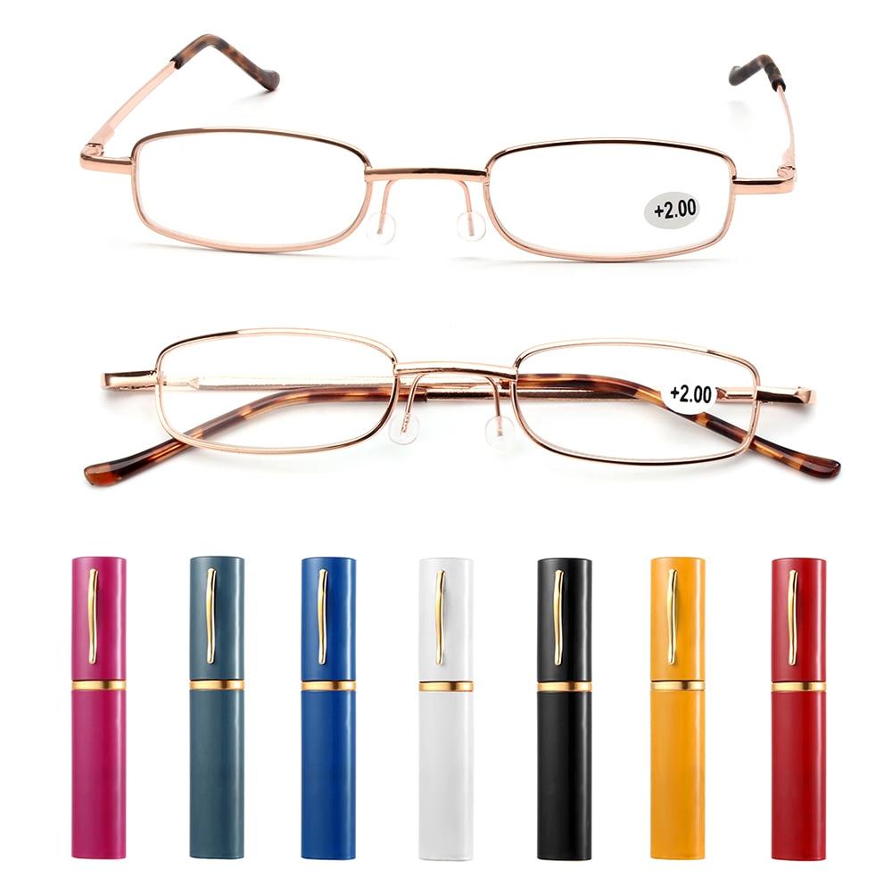 Gafas de lectura Unisex con estuche de tubo, gafas para presbicia clásicas y portátiles, accesorios para cuidado de gafas + 1,00 ~ + 4,00