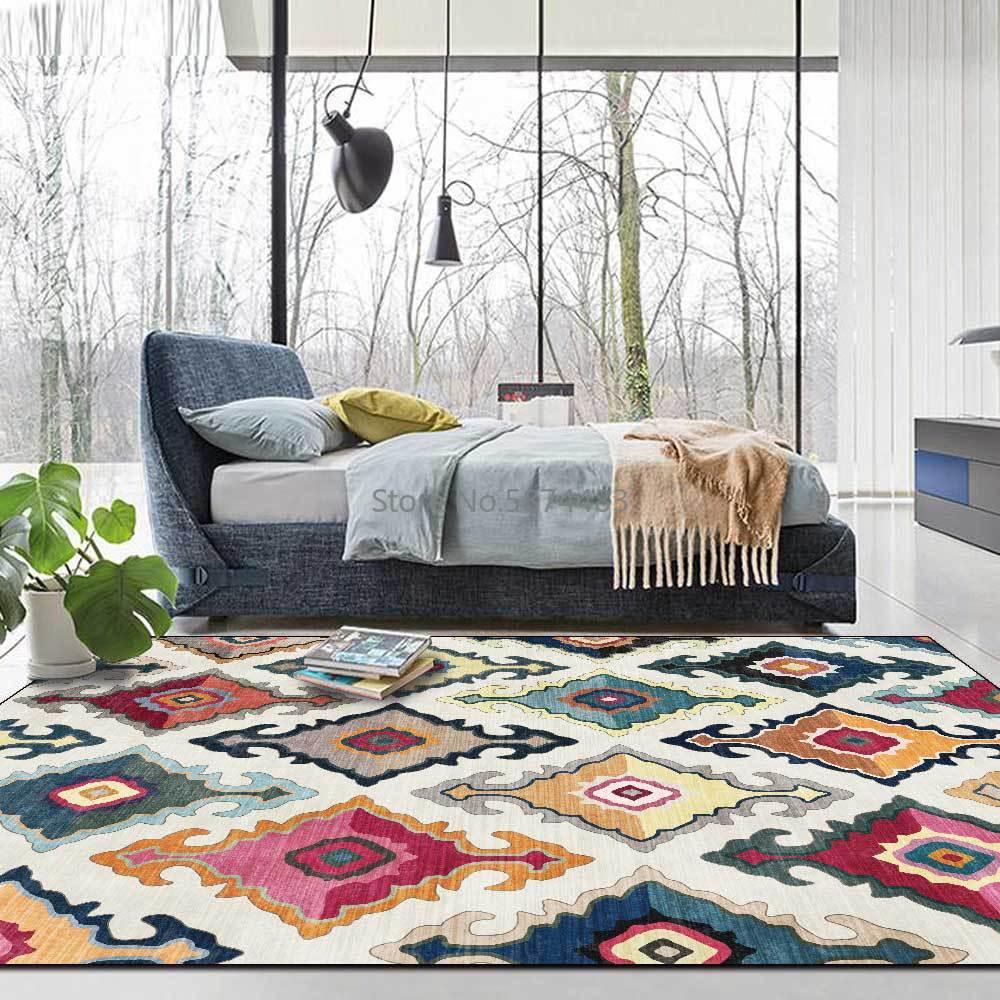 200*300 سنتيمتر الأوروبي المغربي مرساة العرقية نمط الأبيض البني غرفة المعيشة غرفة نوم السرير السجاد حصيرة التخصيص