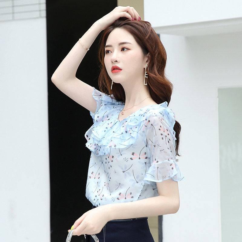 Women's Spring Summer Chiffon Blouses Casual Women Print Short Sleeve O-neck Slim Shirts Elegant Women's Blusas Tops DF3437