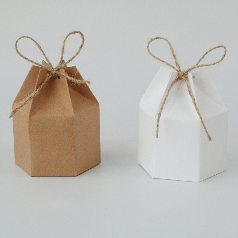 10-200 Uds Kraft paquete de papel caja de cartón linterna forma hexagonal de Cajas de Regalo de papel de Kraft de regalo de boda, cajas de embalaje de bolsas