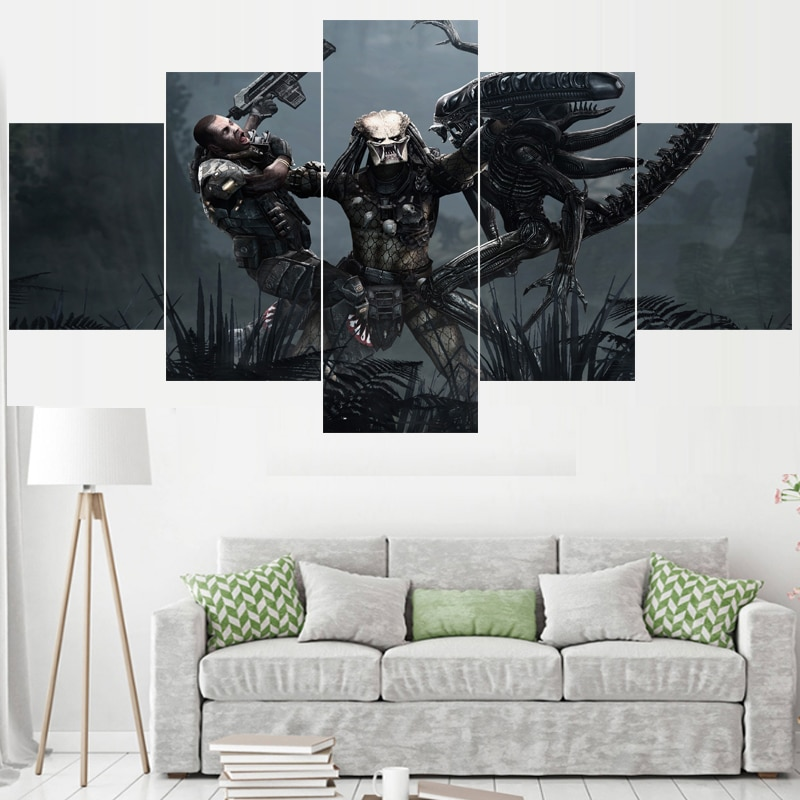 5 uds película depredador pinturas para el dormitorio pared arte decoración del hogar cuadro lienzo pintura caligrafía para sala de estar