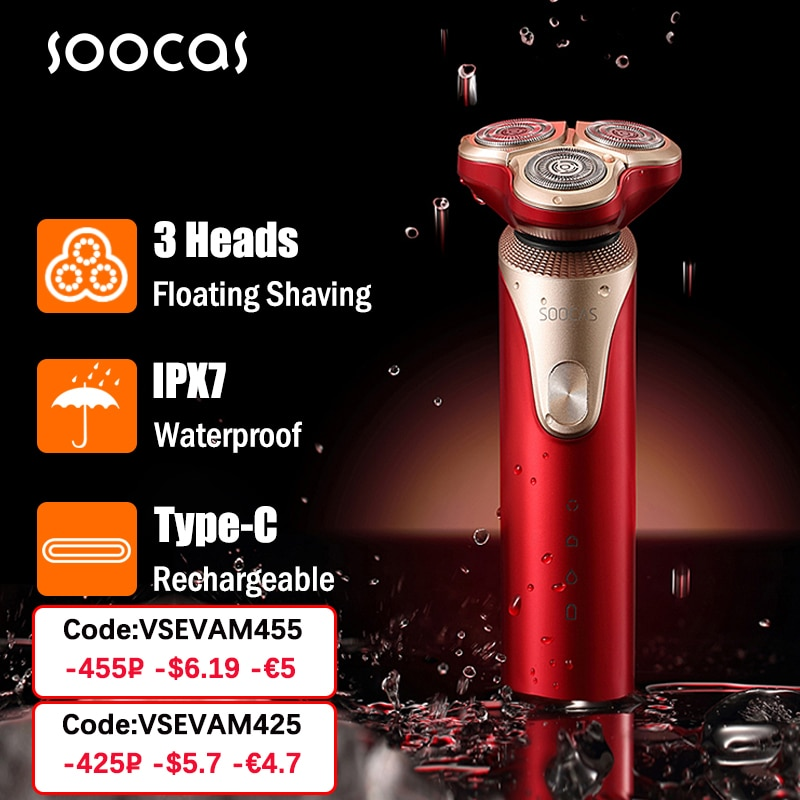 Xiaomi Mijia SOOCAS S3 الكهربائية الحلاقة ماكينة حلاقة 3D الانتهازي اللحية نوع-C قابلة للشحن الحلاقة آلات الزخارف ماكينة حلاقة كهربائية ل الرجال