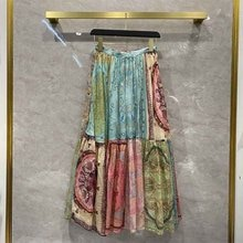 Skirts 2021 Women Spring Summer Women's Print MAXI Skirt Pure Cotton Patchwork Pleated Elegant Holid