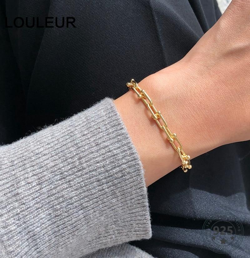 Louleur 925 prata esterlina corrente bruta pulseiras rock punk nova fivela pulseira para mulheres moda jóias presentes transporte da gota