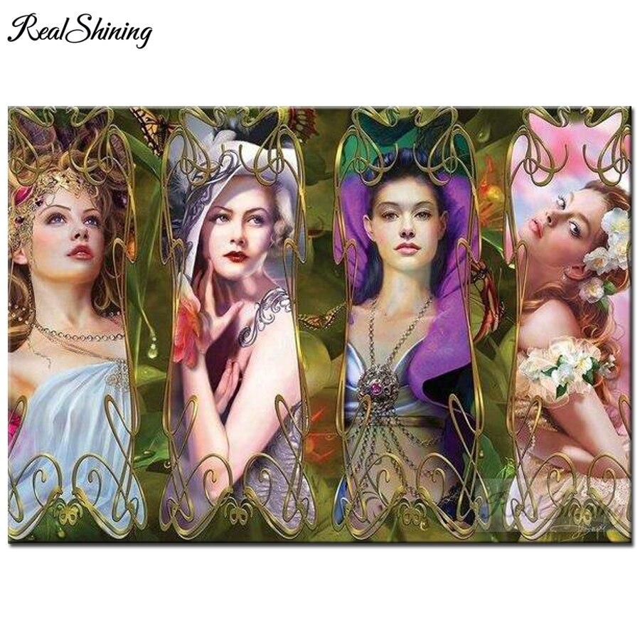 classical Beauty Women 3D Diamond Embroidery Portrait Cross Stitch Full Square round Drill Diy Diamo