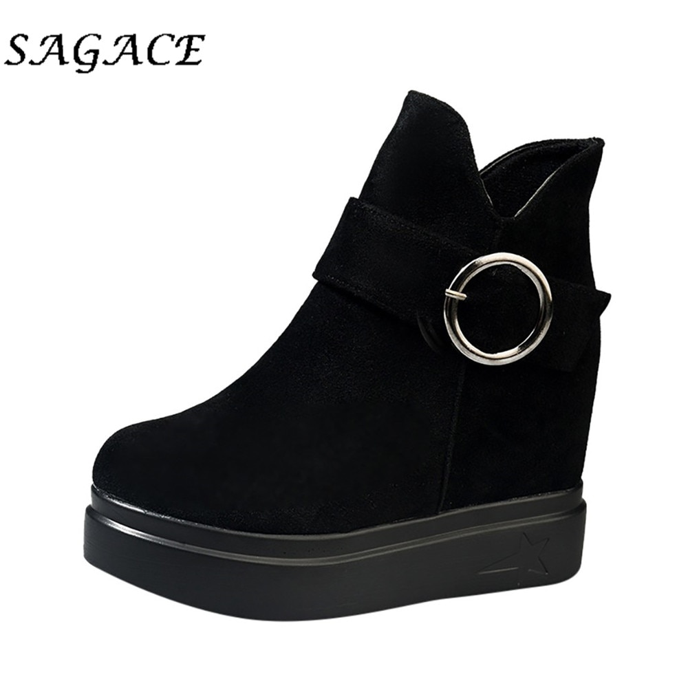 SAGACE Shoes ladies flock boots thick Increase high heels women zipper boots 2019 winter wedge platform boots women flock shoes