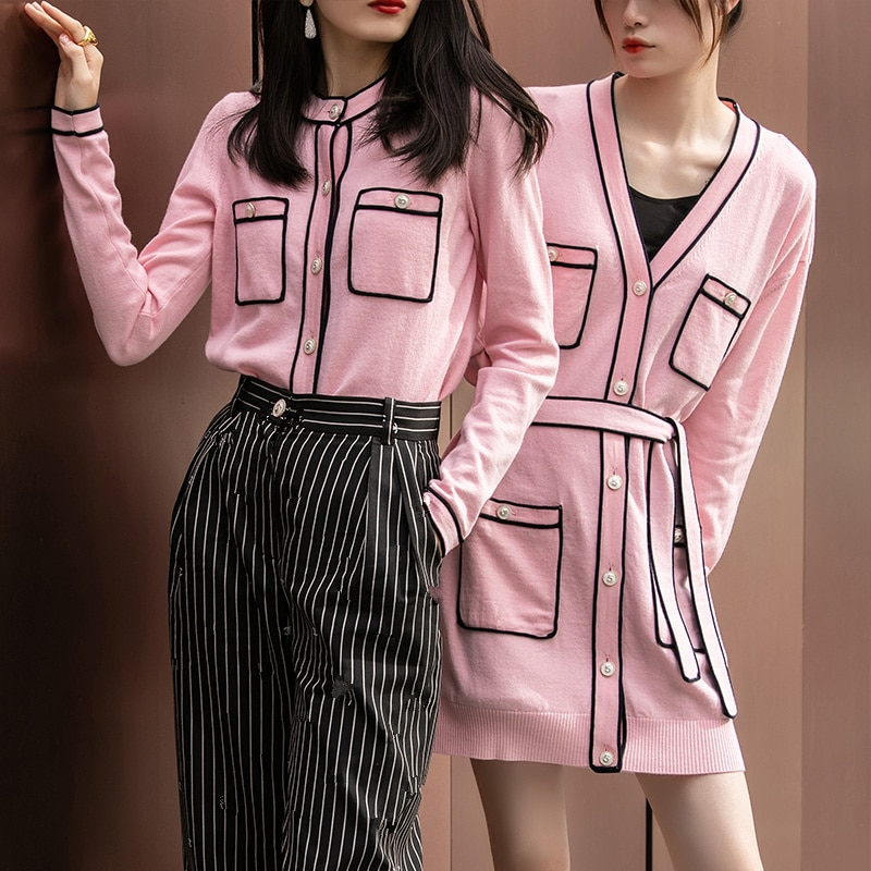 Runway Sweater Cardigan Women Luxury Knitted Jacket 2021 Spring Round Neck Single Breasted Pink/Red Knitted Cardigan Ladies Tops enlarge