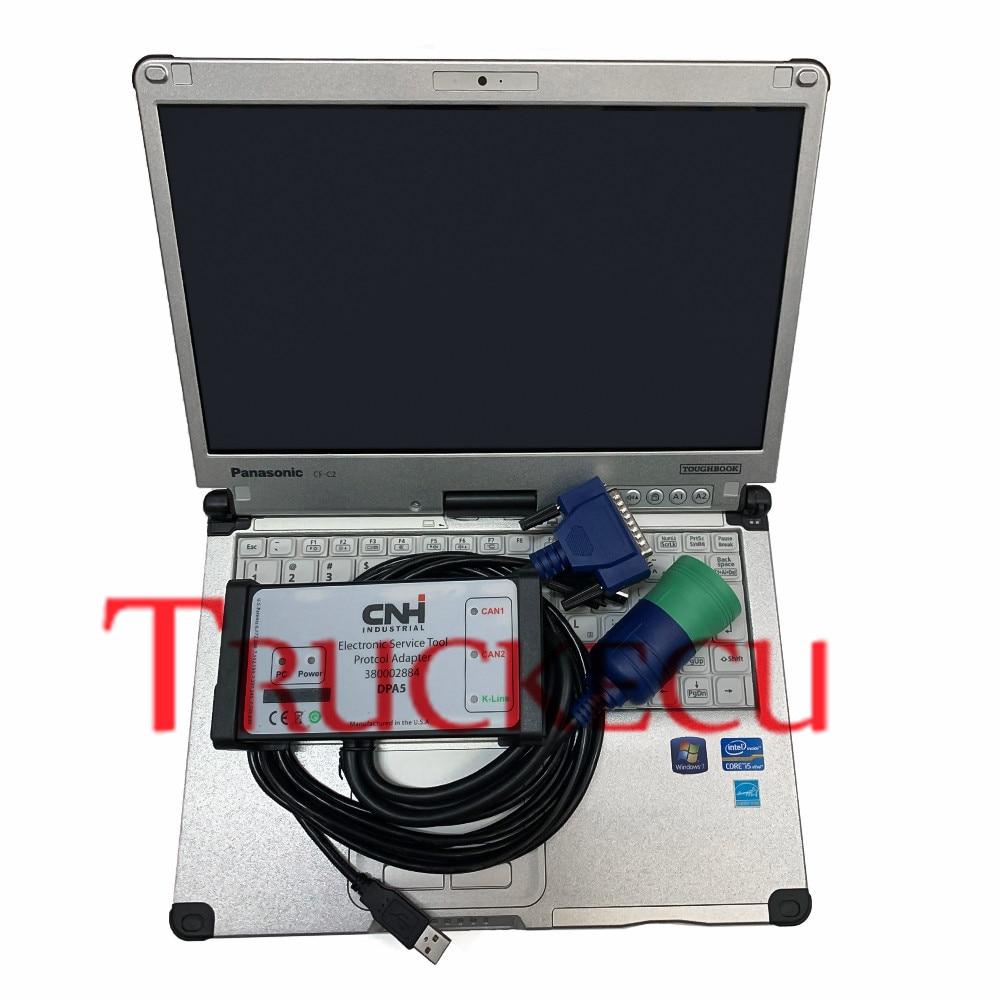 For New Holland Case IH Steyr diagnostic scanner tool for CNH Est Diagnostic Kit Electronic Service Tool CNH EST DPA5+C2 LAPTOP