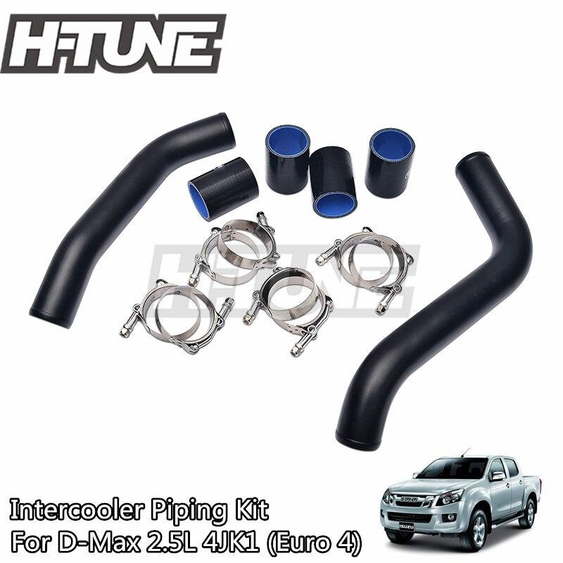 "H-TUNE anodizado 2 ""Turbo Diesel Intercooler tubo Kit de tubería + abrazadera T + Kit de mangueras de silicona para d-max 2.5L 4JK1 2012 + +"