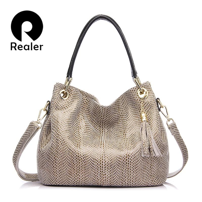 Realer Women Handbags Genuine Leather Tassel Bag Female Shoulder Crossbody Bags for Women 2019 High Quality Totes Messenger Bag