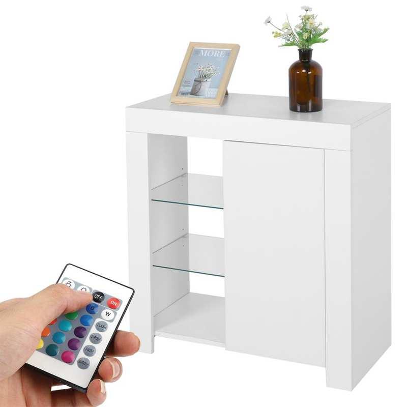 خزانة جانبية مع أضواء LED 3-Tier خزانة أدوات المائدة خزانة للمطبخ غرفة الطعام