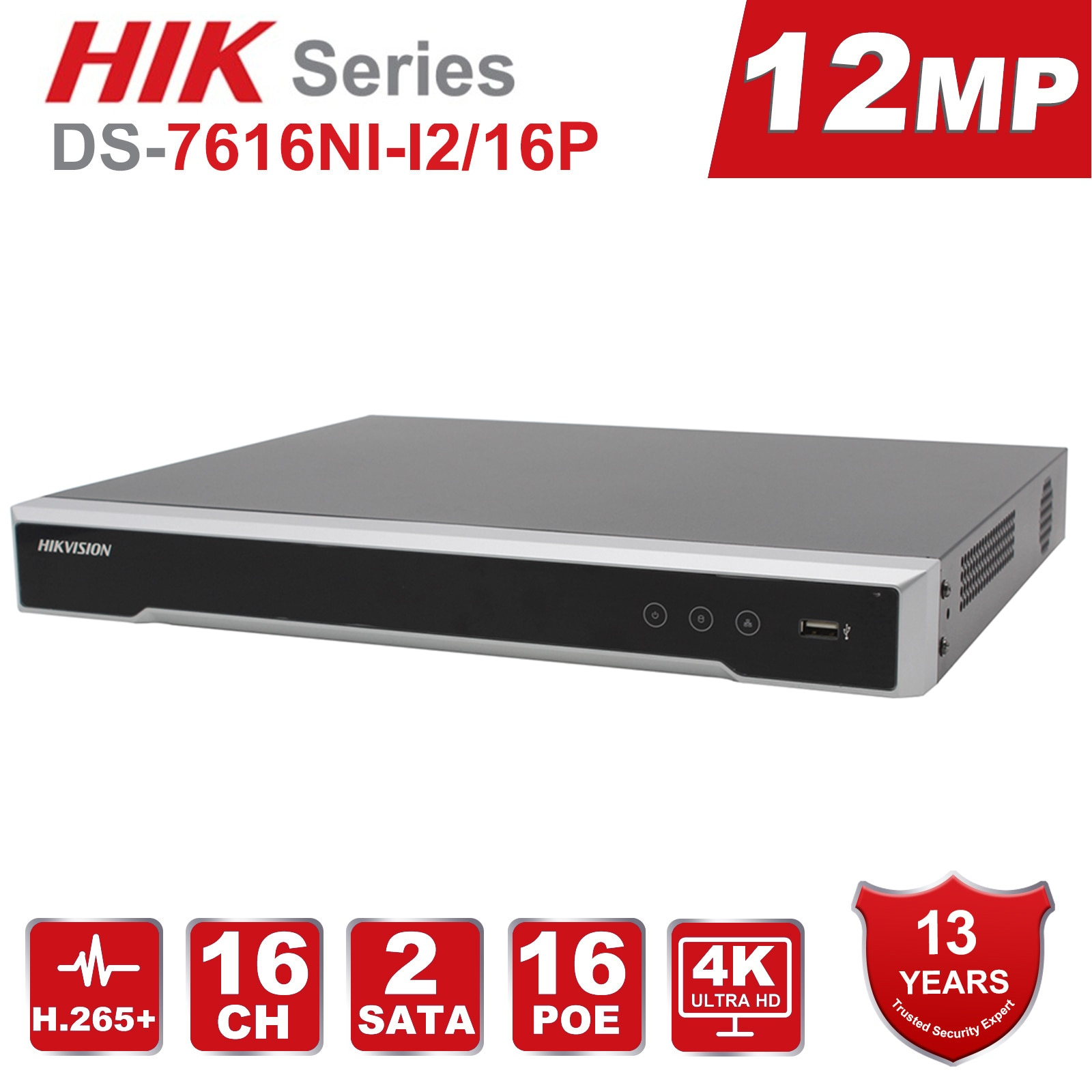 الأصلي Hikvision NVR 4K 12MP 16CH DS-7616NI-I2/16 P H.265 + POE NVR 2SATA 16 POE ميناء HDMI VGA التوصيل والتشغيل مع Anpviz IP كاميرا