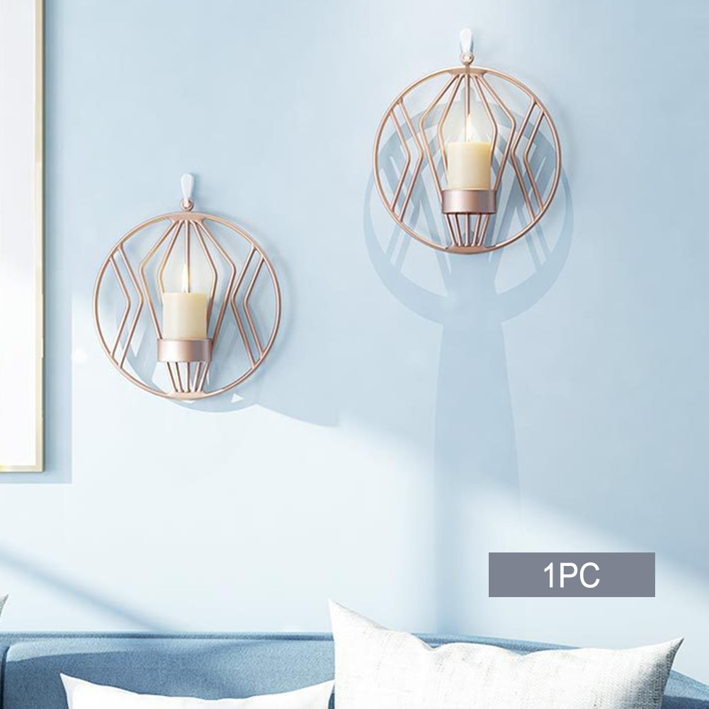 Adornos colgantes Luz de té montado en la pared redonda decoración del hogar moderno hierro 3D geométrico candelero titular romántico Bar