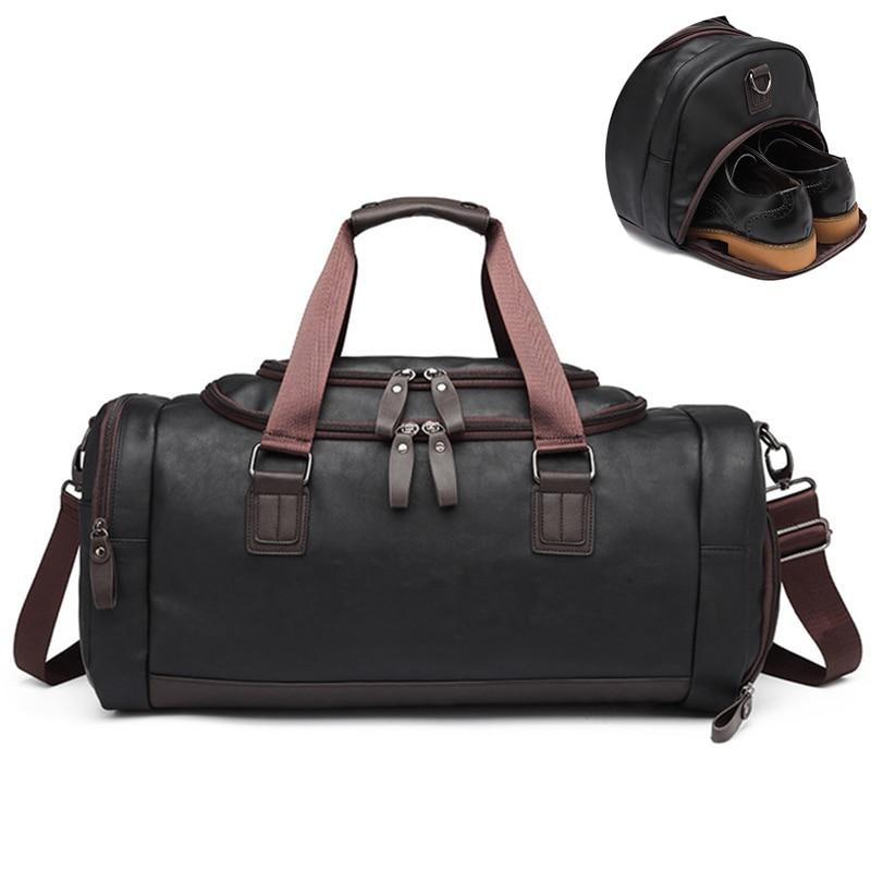 PU Leather Duffel Bag Fitness Shoulder Gym Bag Gym Pack Crossbody Bags Sport Gymnastics Bag Shoes Compartment Fitness Gadgets
