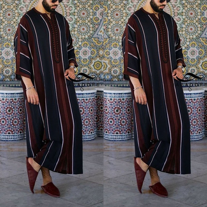 Мусульманская модная одежда Рамадан, мужское платье, кафтан свободного кроя, повседневная абайя, Мужская скромная молодежная одежда, мусул...