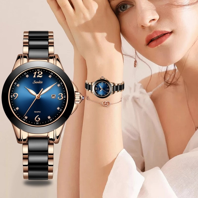 SUNKTA Elegant Fashion Women Watches Ladies Top Brand Luxury Ceramic Rhinestone Sport Quartz Watch Women Blue Waterproof Watch enlarge