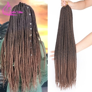 Refined Hair 14 18 22Inch Handmade Crochet Box Braids 22Roots Ombre Gray Brown Burgundy Purple Synthetic Braiding Hair Extension