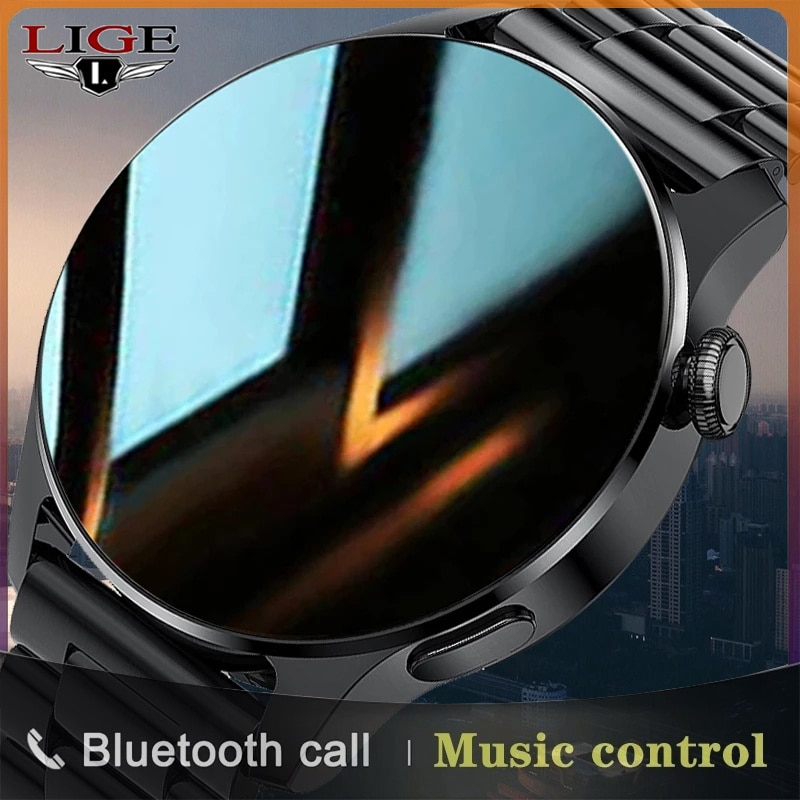 LIGE2021 New Luxury Fashion Men's Smart Watch Bluetooth Smart Heart Rate Monitoring IP67 Waterproof