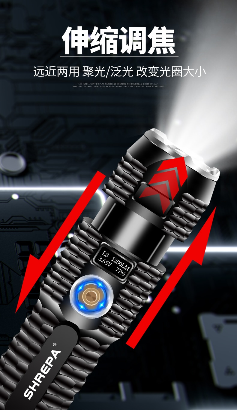 Outdoor Portable Flashlight Rechargeable Most Powerful Flashlight Power Bank Mini Lanterne Convoy Led Latarka Portable Lighting enlarge