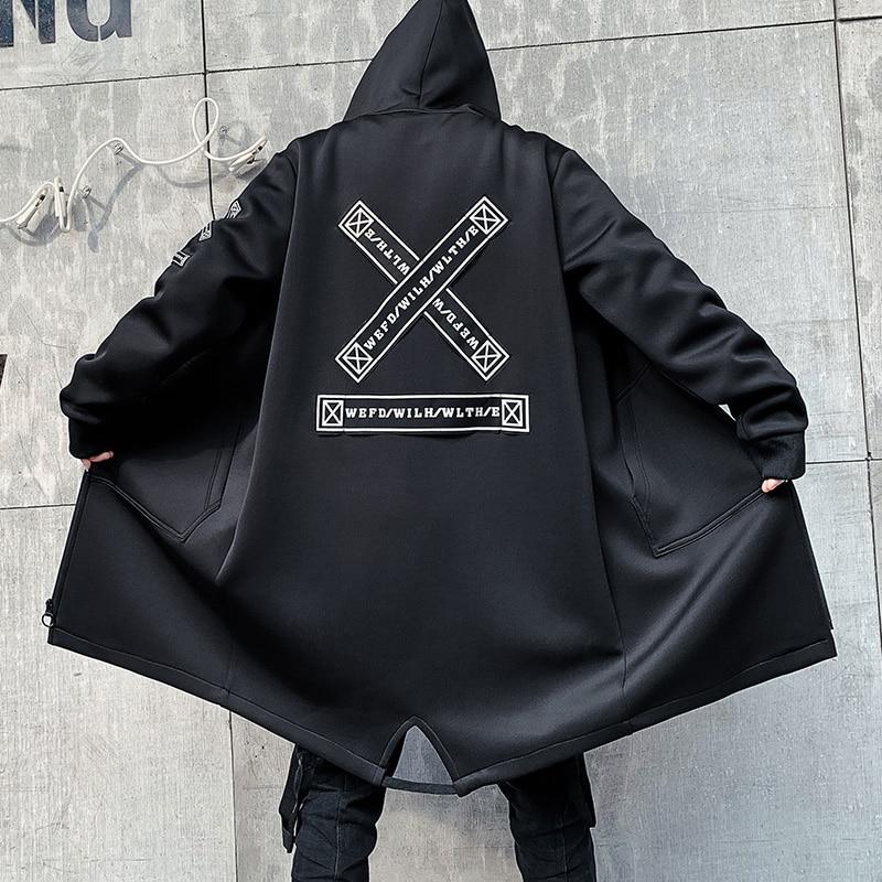 Куртка мужская с капюшоном, длинный Тренч в стиле хип-хоп, уличная одежда, Бомбер, Повседневная ветровка с надписью, весна-осень
