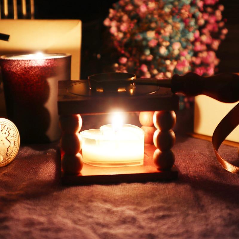 Retro horno de cera de sellado olla de mango de madera horno cuchara de cera de lacre para cera de sellado decorativo cera sello artesanal regalo