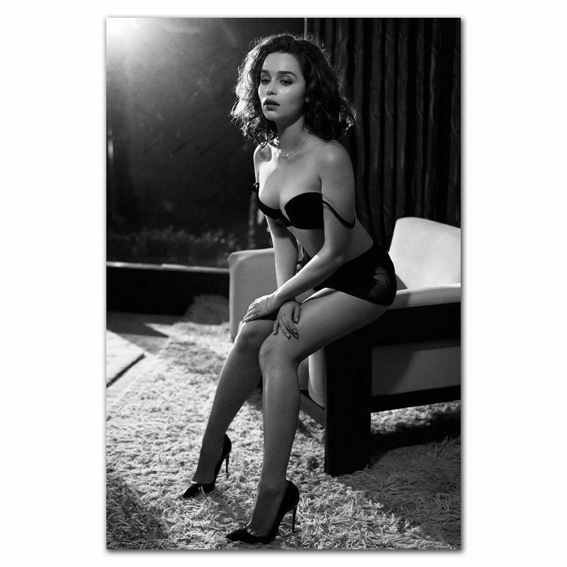 J0022 emilia clarke menina sexy modelo atriz adesivo de parede de seda poster arte luz lona decoração para casa