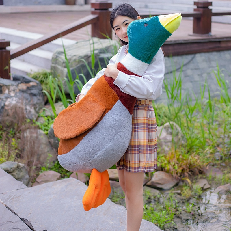 2021 Simulation Huge Wild Duck Plush Toys Lovely Poultry Garden Duck Pillow Rabbit Fur Stuffed Soft Animal Dolls Birthday Gifts