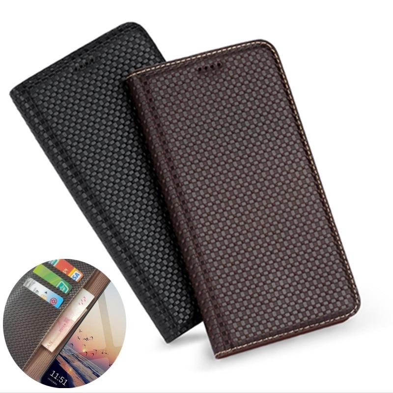 جراب هاتف خلوي من الجلد الطبيعي مع قفل مغناطيسي ، حافظة بطاقات لهاتف Samsung Galaxy A72 A52 A42 A32 A12 A02